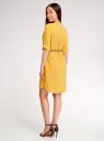 Платье вискозное с плетеным поясом oodji для женщины (желтый), 11900180-1/42540/5700N