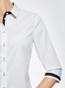 Рубашка хлопковая с рукавом 3/4 oodji #SECTION_NAME# (белый), 11403201-2/26357/1000N - вид 5