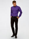 Рубашка приталенного силуэта с двойным воротничком oodji для мужчины (фиолетовый), 3L110282M/19370N/8883G - вид 6