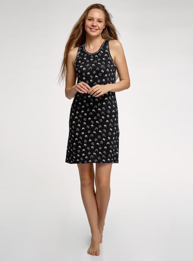Платье домашнее принтованное oodji для женщины (черный), 59801023/19768/2910A