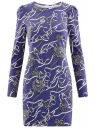 Платье трикотажное облегающего силуэта oodji #SECTION_NAME# (синий), 14000171/46148/7523O
