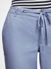 Брюки льняные с завязками oodji для женщины (синий), 21700202/34263N/7500N - вид 4