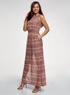 Платье макси с завязкой на поясе oodji #SECTION_NAME# (розовый), 24005138/45509/4749E - вид 6