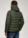 Куртка стеганая с капюшоном oodji #SECTION_NAME# (зеленый), 1B112027M/33743/6600N - вид 3