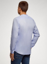 Рубашка льняная без воротника oodji #SECTION_NAME# (синий), 3B320002M/21155N/7000N - вид 3