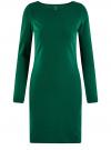 Платье трикотажное облегающего силуэта oodji #SECTION_NAME# (зеленый), 14001183B/46148/6E00N
