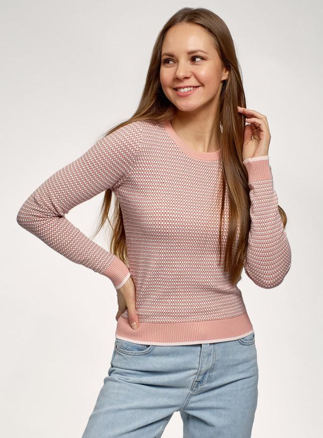 Джемпер жаккардовый вязаный oodji для женщины (розовый), 63812673/50079/4A4BJ