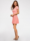 Платье приталенное с V-образным вырезом на спине oodji #SECTION_NAME# (розовый), 14011034B/42588/4100N - вид 6