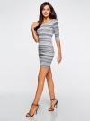 Платье жаккардовое с геометрическим узором oodji для женщины (синий), 14001064-5/46025/7079G - вид 6