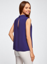 Блузка базовая без рукавов с воротником oodji #SECTION_NAME# (фиолетовый), 11411084B/43414/7502N - вид 3