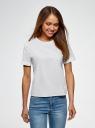 Блузка хлопковая свободного силуэта oodji для женщины (белый), 13K01008/13175N/1000N