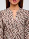 Блузка вискозная прямого силуэта oodji #SECTION_NAME# (бежевый), 21400394-1B/39658N/3345F - вид 4