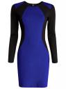 Платье облегающее с контрастными вставками oodji #SECTION_NAME# (синий), 14011009/45948/7529B