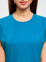 Футболка хлопковая базовая oodji для женщины (синий), 14707001-4B/46154/7501N