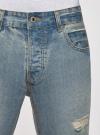 Шорты джинсовые с потертостями oodji #SECTION_NAME# (синий), 6L220016M/35771/7000W - вид 4
