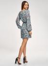Платье из шифона с ремнем oodji для женщины (бирюзовый), 11900150-5B/32823/7037F - вид 3