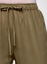 Брюки вискозные на завязках oodji для женщины (зеленый), 13F11001B/26346/6800N