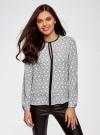 Блузка из струящейся ткани с контрастной отделкой oodji #SECTION_NAME# (серый), 11411059B/43414/1229O - вид 2