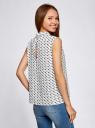Блузка базовая без рукавов с воротником oodji #SECTION_NAME# (белый), 11411084B/43414/1229G - вид 3