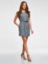 Платье принтованное из вискозы oodji #SECTION_NAME# (синий), 11910073-2/45470/7912F - вид 5
