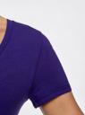 Футболка базовая с V-образным вырезом oodji для женщины (фиолетовый), 24701002-5B/46147/7500N