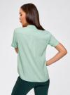 Блузка вискозная с короткими рукавами oodji #SECTION_NAME# (зеленый), 11411137B/14897/6501N - вид 3