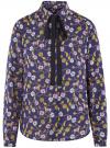 Блузка вискозная с завязками oodji #SECTION_NAME# (синий), 11411169/24681/7957O