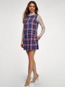 Платье клетчатое без рукавов oodji #SECTION_NAME# (синий), 11910072-2/32831/7945C - вид 6