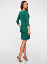 Платье трикотажное с рукавом 3/4 oodji #SECTION_NAME# (зеленый), 24001100-3/45284/6E00N - вид 3