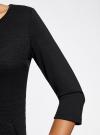 Платье трикотажное с рукавом 3/4 oodji #SECTION_NAME# (черный), 24001100-3/45284/2900N - вид 5