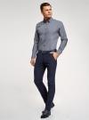 Рубашка slim с двойным воротником oodji #SECTION_NAME# (синий), 3L110223M/19370N/1079G - вид 6