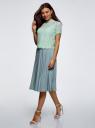 Блузка ажурная с коротким рукавом oodji #SECTION_NAME# (зеленый), 11401277/48132/6500L - вид 6