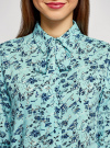 Блузка вискозная с декоративными завязками oodji #SECTION_NAME# (зеленый), 11411118/24681/6579F - вид 4