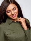 Рубашка приталенная с нагрудными карманами oodji #SECTION_NAME# (зеленый), 13L12001B/43609/6800N - вид 4