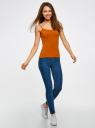 Топ трикотажный на тонких бретелях oodji для женщины (оранжевый), 14305023-1B/46147/5901N