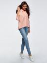 Рубашка свободного силуэта с асимметричным низом oodji #SECTION_NAME# (розовый), 13K11002/45387/1054S - вид 6
