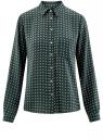 Блузка принтованная из шифона oodji #SECTION_NAME# (зеленый), 11400394-5/36215/6912G