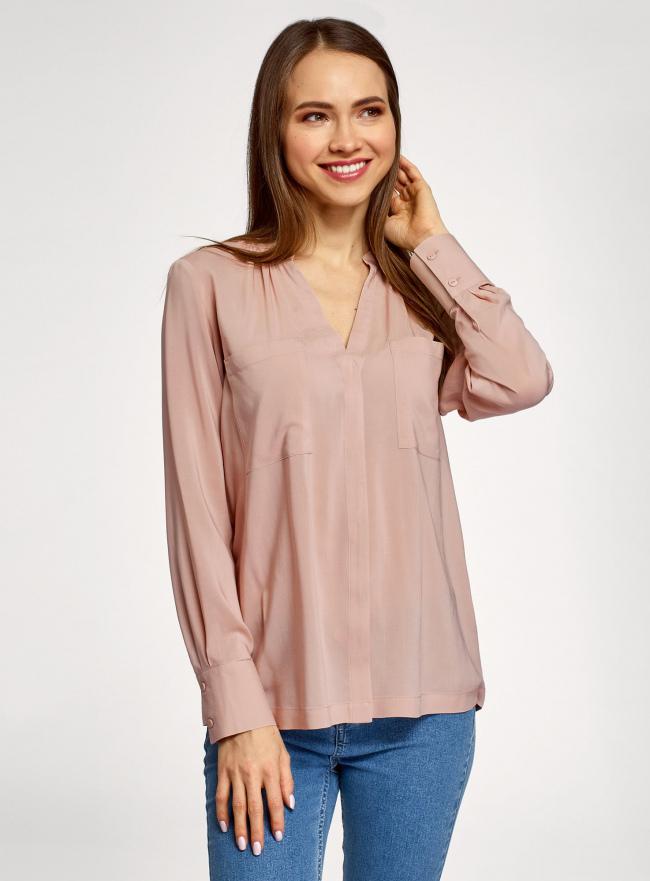 Блузка вискозная с нагрудными карманами oodji #SECTION_NAME# (розовый), 11411201/24681/4B00N