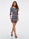 Платье жаккардовое с геометрическим узором oodji для женщины (синий), 14001064-5/46025/7949J - вид 6