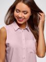 Топ вискозный с рубашечным воротником oodji #SECTION_NAME# (фиолетовый), 14911009B/26346/4000N - вид 4