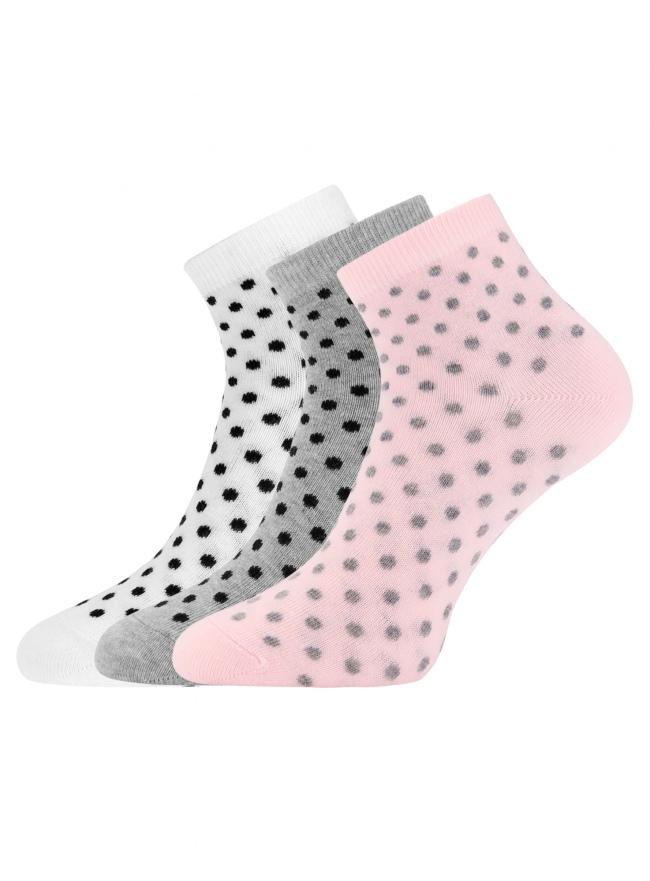 Комплект из трех пар укороченных носков oodji для женщины (разноцветный), 57102418T3/47469/77