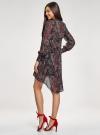 Платье шифоновое с асимметричным низом oodji для женщины (черный), 11913032/38375/2966E - вид 3