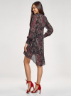 Платье шифоновое с асимметричным низом oodji #SECTION_NAME# (черный), 11913032/38375/2966E - вид 3