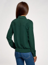 Блузка из струящейся ткани с нагрудными карманами oodji #SECTION_NAME# (зеленый), 11401278/36215/6900N - вид 3