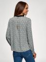 Блузка прямого силуэта с отложным воротником oodji для женщины (серый), 11411181/43414/2012B
