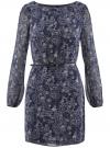 Платье из шифона с ремнем oodji для женщины (синий), 11900150-5/13632/7912E - вид 6