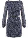 Платье из шифона с ремнем oodji #SECTION_NAME# (синий), 11900150-5/13632/7912E - вид 6