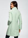 Пальто прямого силуэта из фактурной ткани oodji #SECTION_NAME# (бирюзовый), 10104043/43312/6500N - вид 3