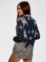 Блузка с этническим узором и отложным воротником oodji #SECTION_NAME# (синий), 21411144-3M/35542/7935E - вид 3