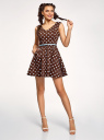 Платье принтованное с ремнем oodji для женщины (коричневый), 11913021/19766/3970D